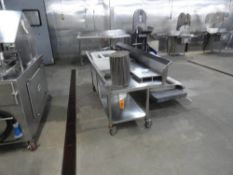"""STAINLESS STEEL TABLE, 7' X 32"""" WITH BACK, 4"""" LIP, UNDERSHELF ON CASTERS"""