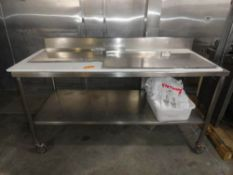 """STAINLESS STEEL TABLE, 6' X 30"""" WITH BACK SPLASH & UNDERSHELF ON CASTERS"""
