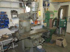 Bridgeport Vertical Mill S/N 12BR89066, 42'' Table, Power Feed, 1HP Step Drive