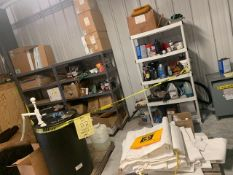 LOT ASSORTED CHEMICALS, SUPPLIES, CAULKING, TARPS, ETC (ON 3 SECTIONS SHELVING)
