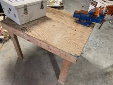 SMALL WOOD TABLE WITH BLUE VISE
