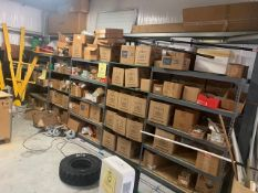 SECTIONS SHELVING WITH CONTENTS - HOSE CLAMPS, HARDWARE, PARTS, FILTERS, REGULATORS (NO WIRE)