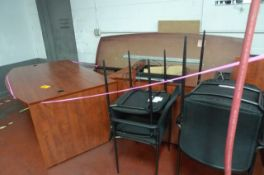 LOT: EXEC. DESK W/ CREDENZA; 8' CONFERENCE TABLE W/ (4) CHAIRS