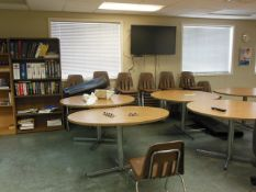LOT: (6) ROUND CAFETERIA TABLES; (38) STACK CHAIRS; (2) BOOKCASES; LG TV