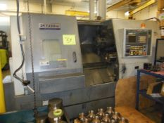 HYUNDAI-KIA MODEL SKT-250 MS TWIN TURRET CNC TURNING CENTER, S/N G1365-0088 W/ FANUC 18I-TB