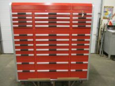 Lista Style Smooth Rolling Mechanic Cabinet with 33 Drawers - complete with lock & keys with 2 X
