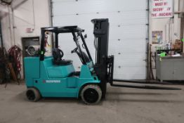 """FREE CUSTOMS - Mitsubishi 12,000lbs capacity LPG (propane) Forklift with 72"""" forks with 3-stage mast"""