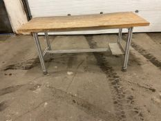 """Work Table Work Bench Unit 72"""" x 30"""" with Wooden top and Aluminum Base"""
