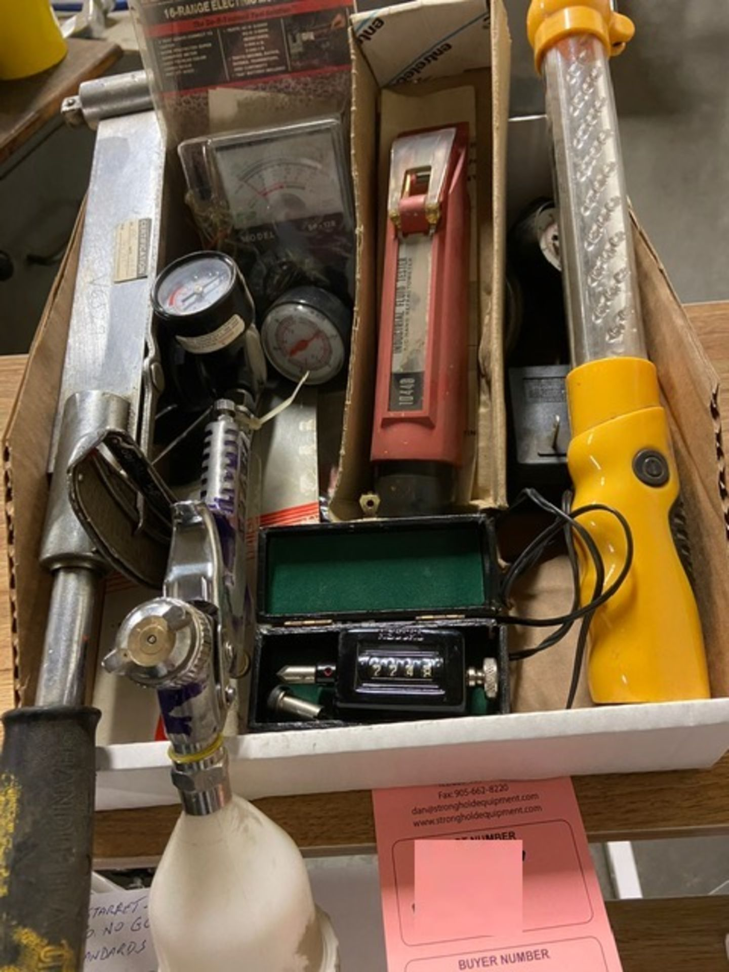 Lot of Testers including gauges, liquid test kit and light