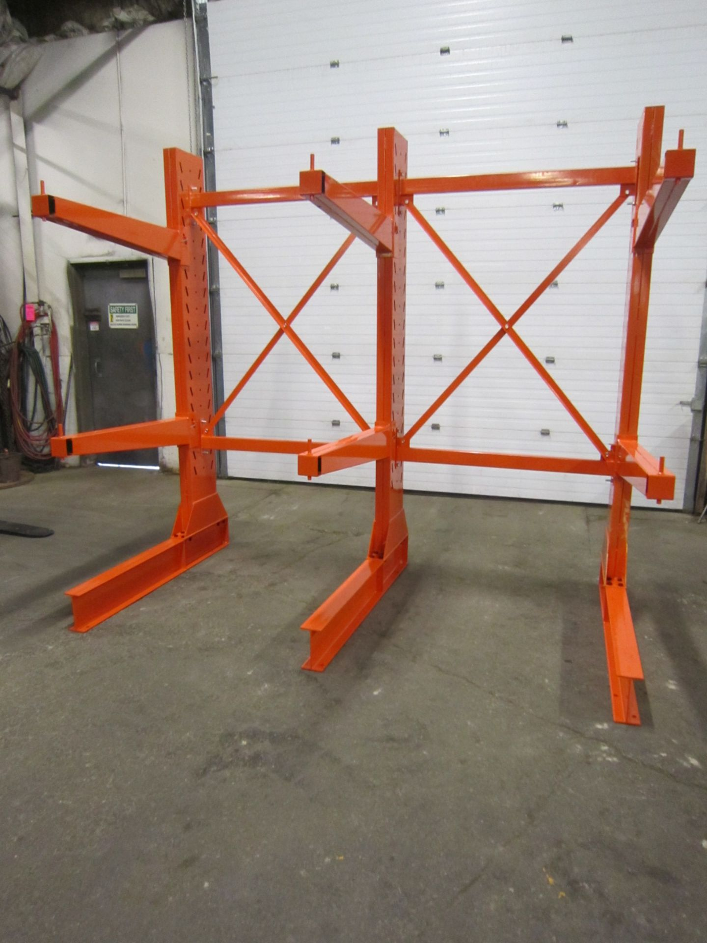 """Lot of Heavy Duty Cantilever Racking - 3 full sections complete with SIX 4' arms - 100"""" tall units"""