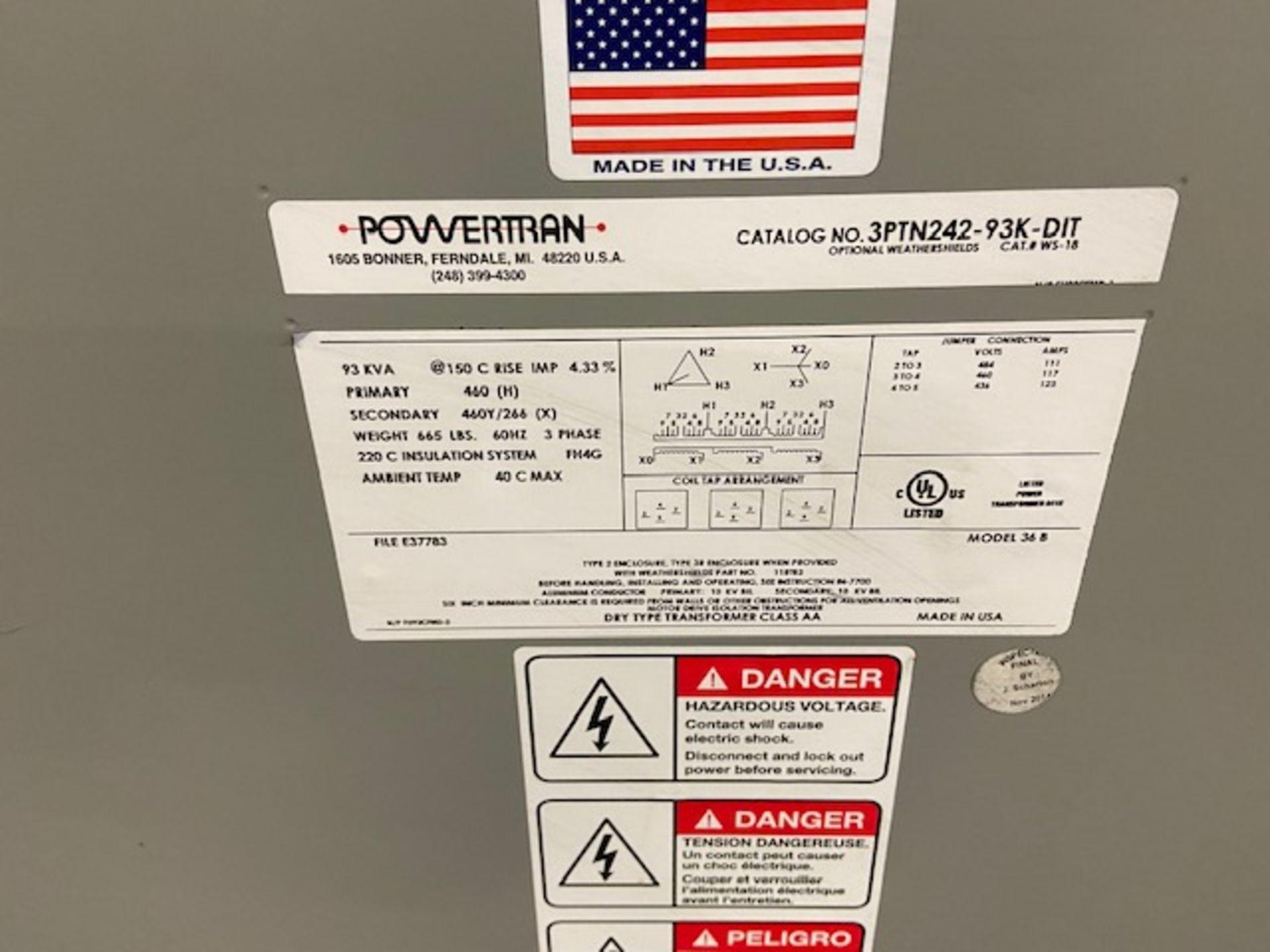 Powertran Electrical Transformer 93KVA 460/460Y/266V - Image 2 of 2