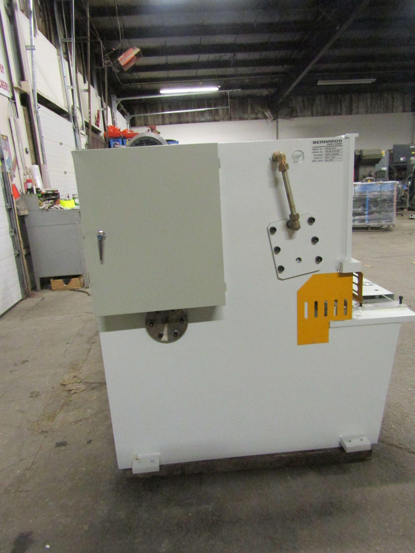 "Bernardo Hydraulic Shear 3/16"" max capacity 98"" width - 480/575V 3 phase MINT UNUSED UNIT complete - Image 5 of 6"