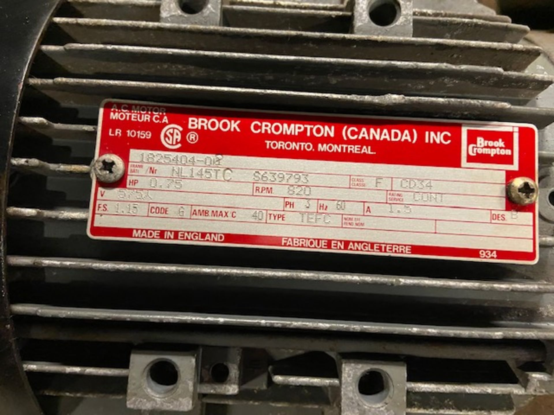Lot of 3 (3 units) Brook Crompton Motors with Gear Boxes - Image 2 of 4
