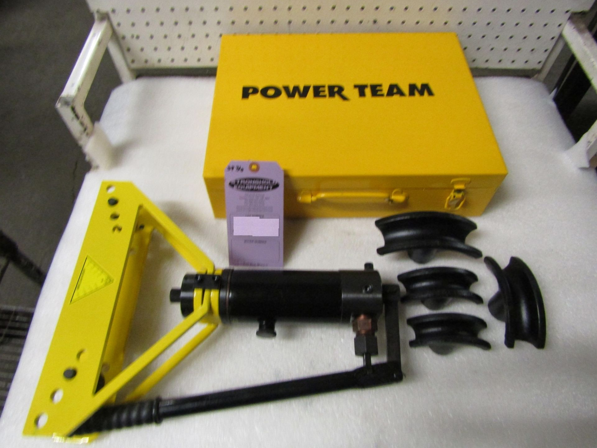 """Power Team Hydraulics style tube Bender unit up to 1"""" capacity including dies in case - MINT, UNUSED - Image 2 of 2"""