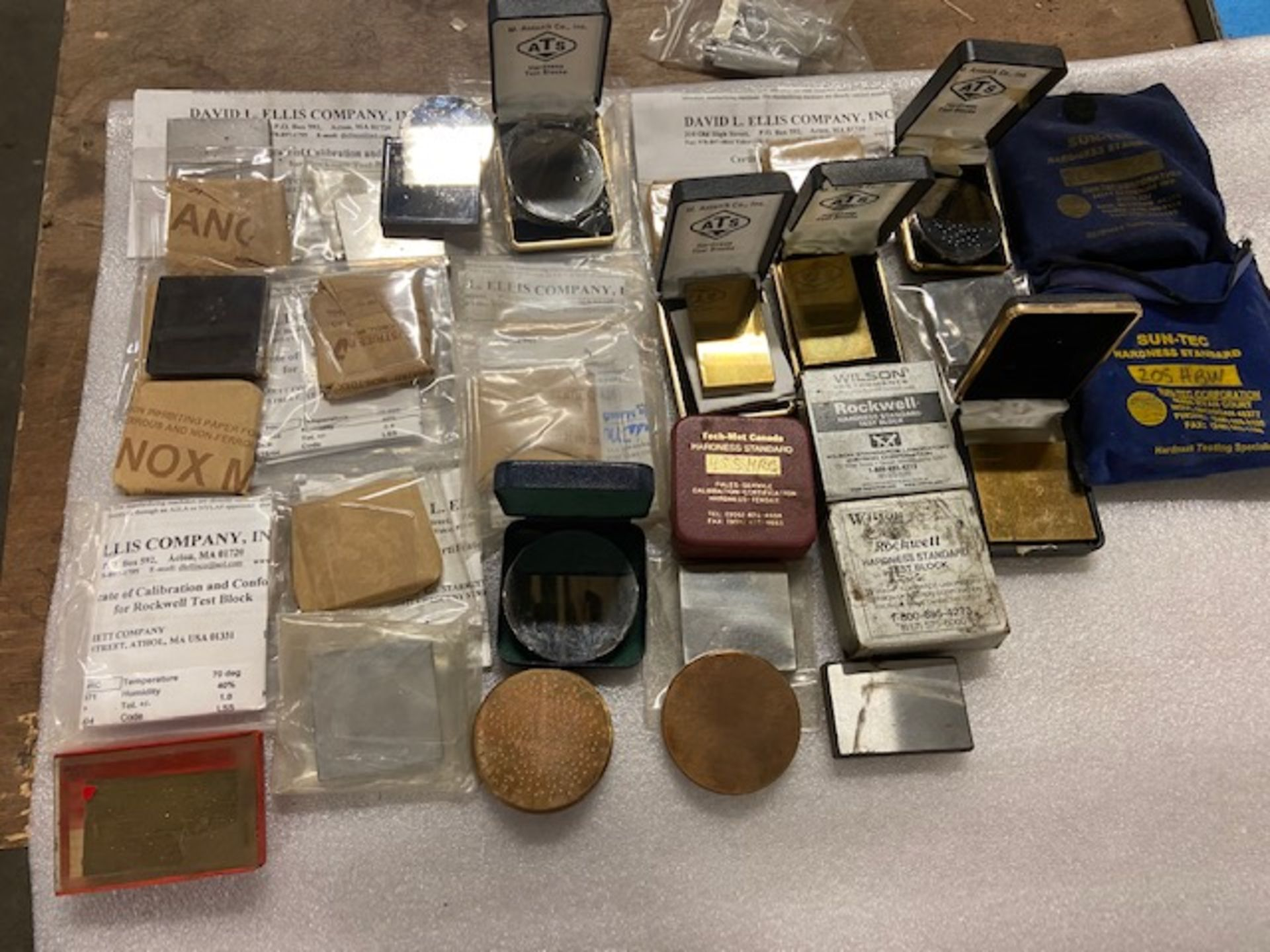 Large Lot of Hardness Tester Test Blocks - many with Certificates ATS, Sun-Tec, Wilson