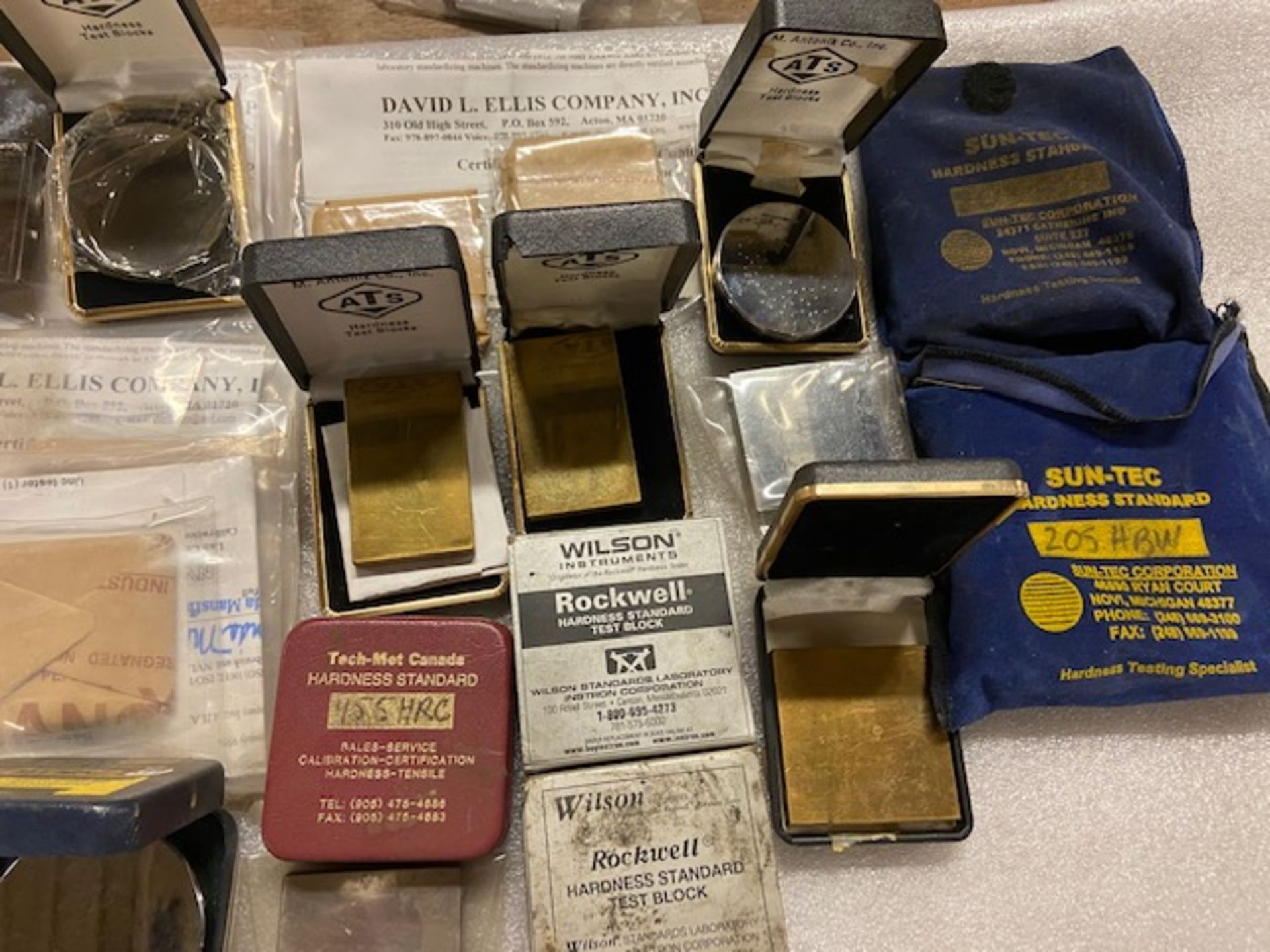 Large Lot of Hardness Tester Test Blocks - many with Certificates ATS, Sun-Tec, Wilson - Image 2 of 4