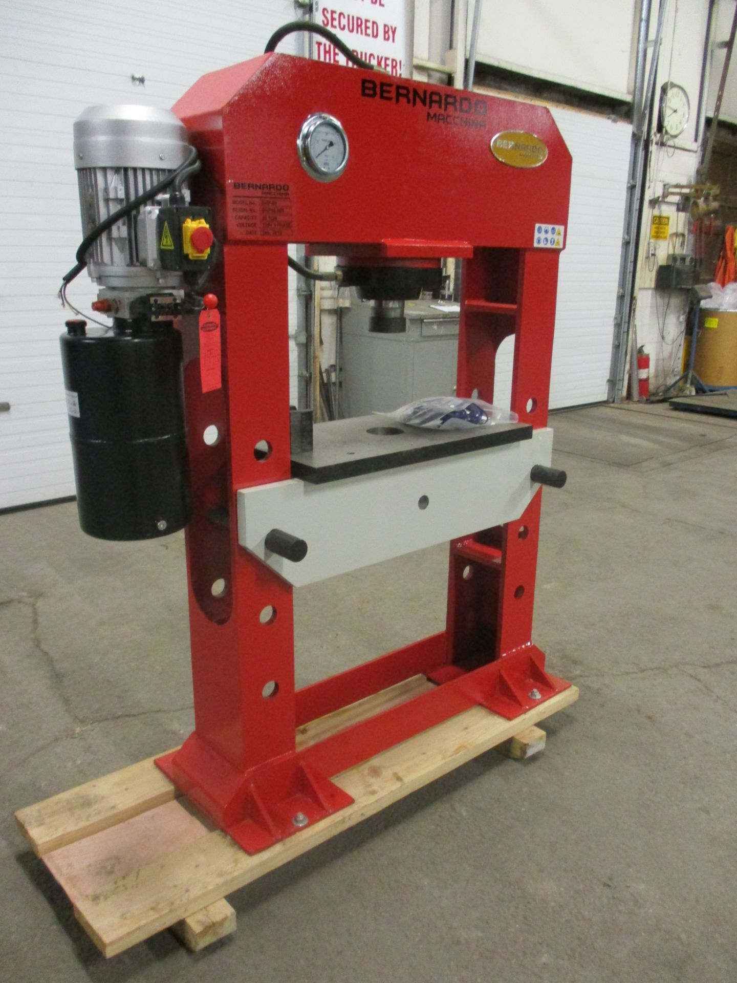 Bernardo Macchina model BHP-80 H-Frame Press 80 Ton Capacity with adjustable table height, hydraulic