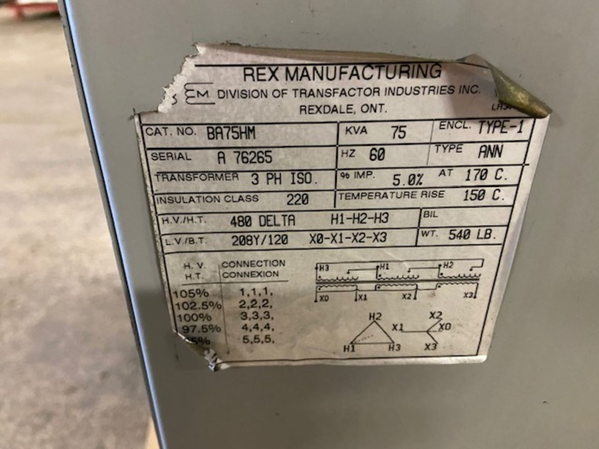 Rex Electrical Transformer 75KVA 480/208/120 - Image 2 of 2