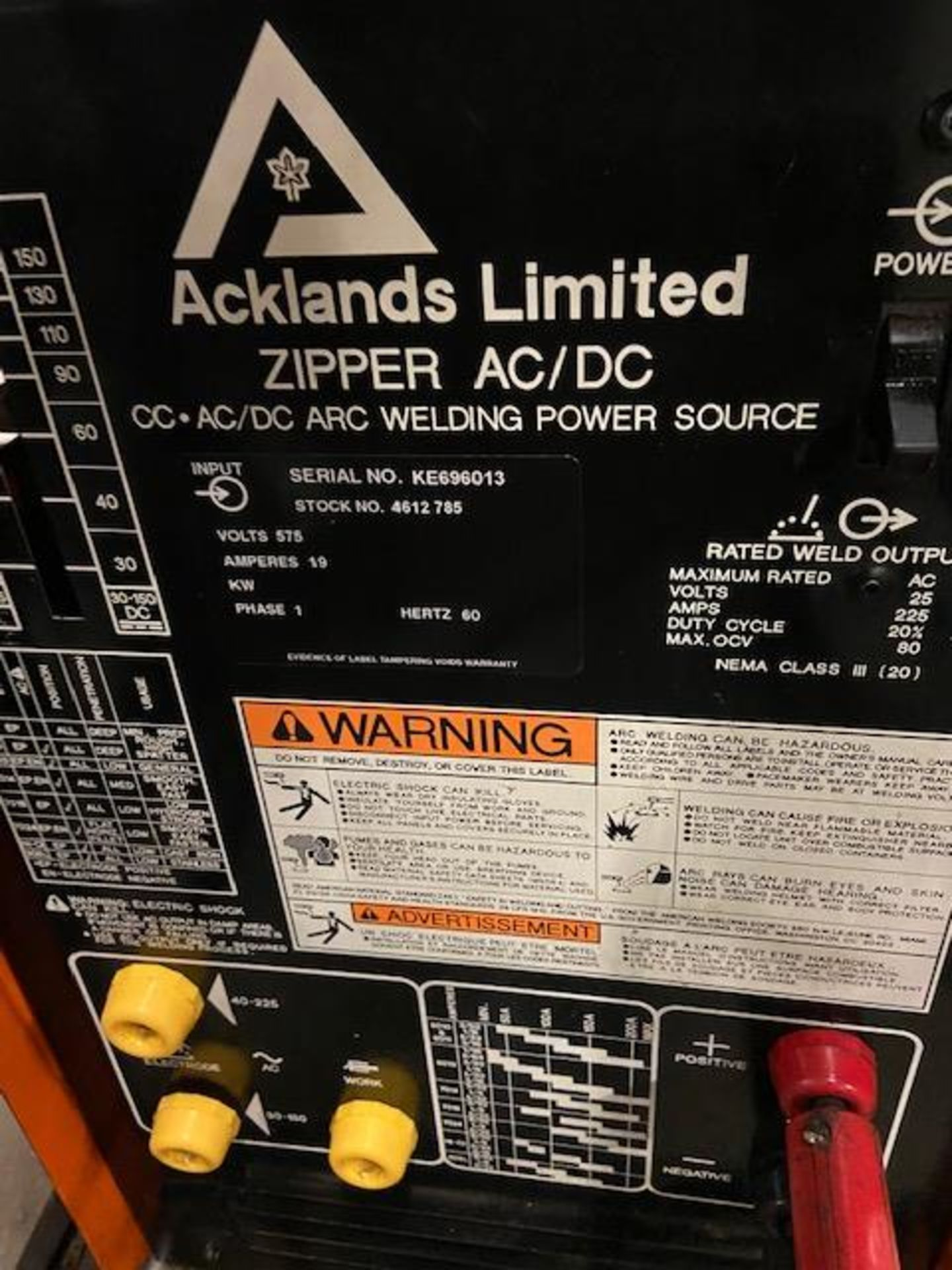Acklands Liminted CC - AC/DC Arc Welding Stick Welder System 225A unit on cart with cables - Image 2 of 3