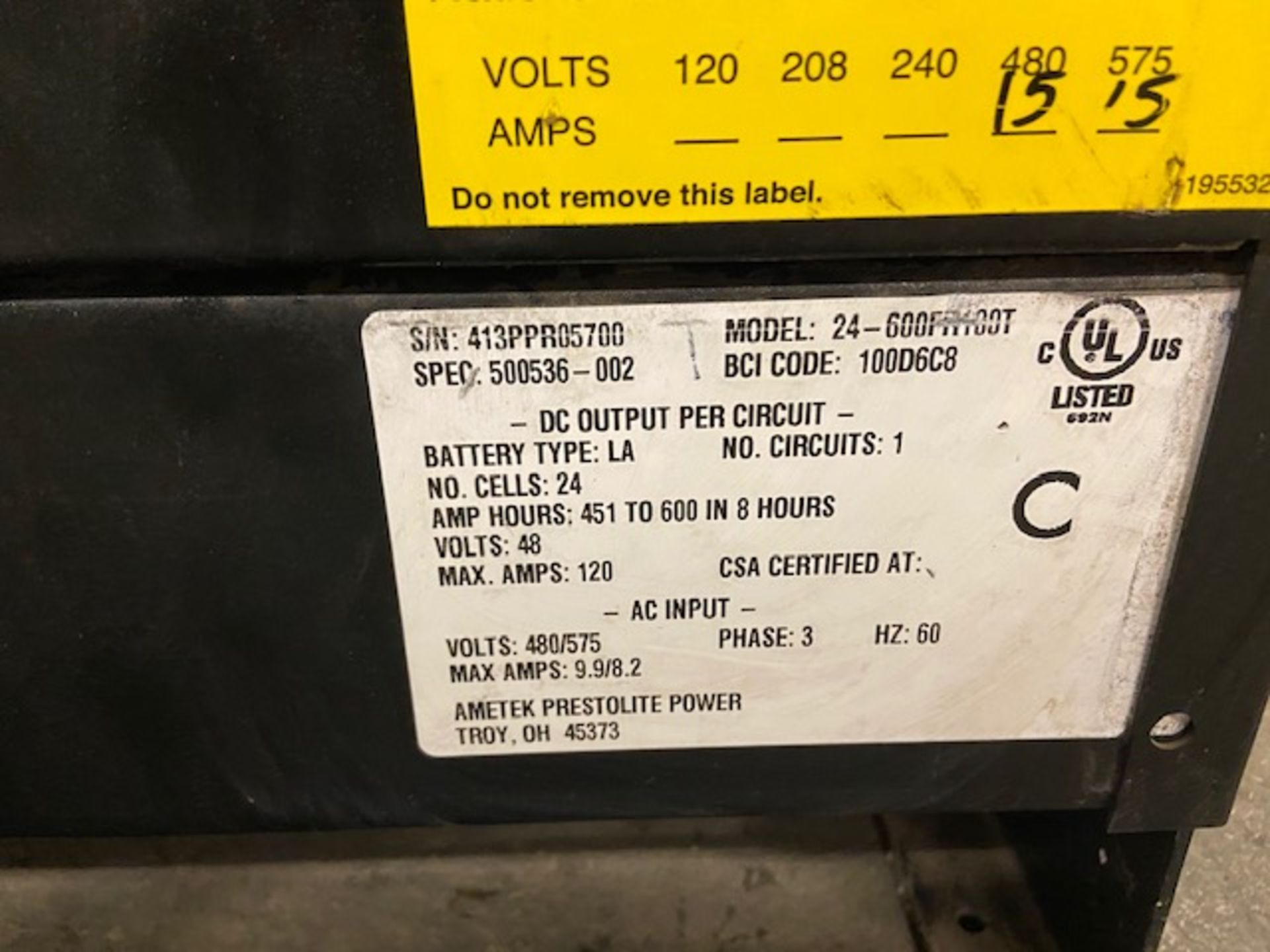 Power Pro forklift battery charger 48V output 600V input - Image 2 of 2