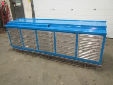 """Lista Style 30 Drawer Bench Heavy Duty Cabinet with Stainless Steel drawers 90"""" long"""