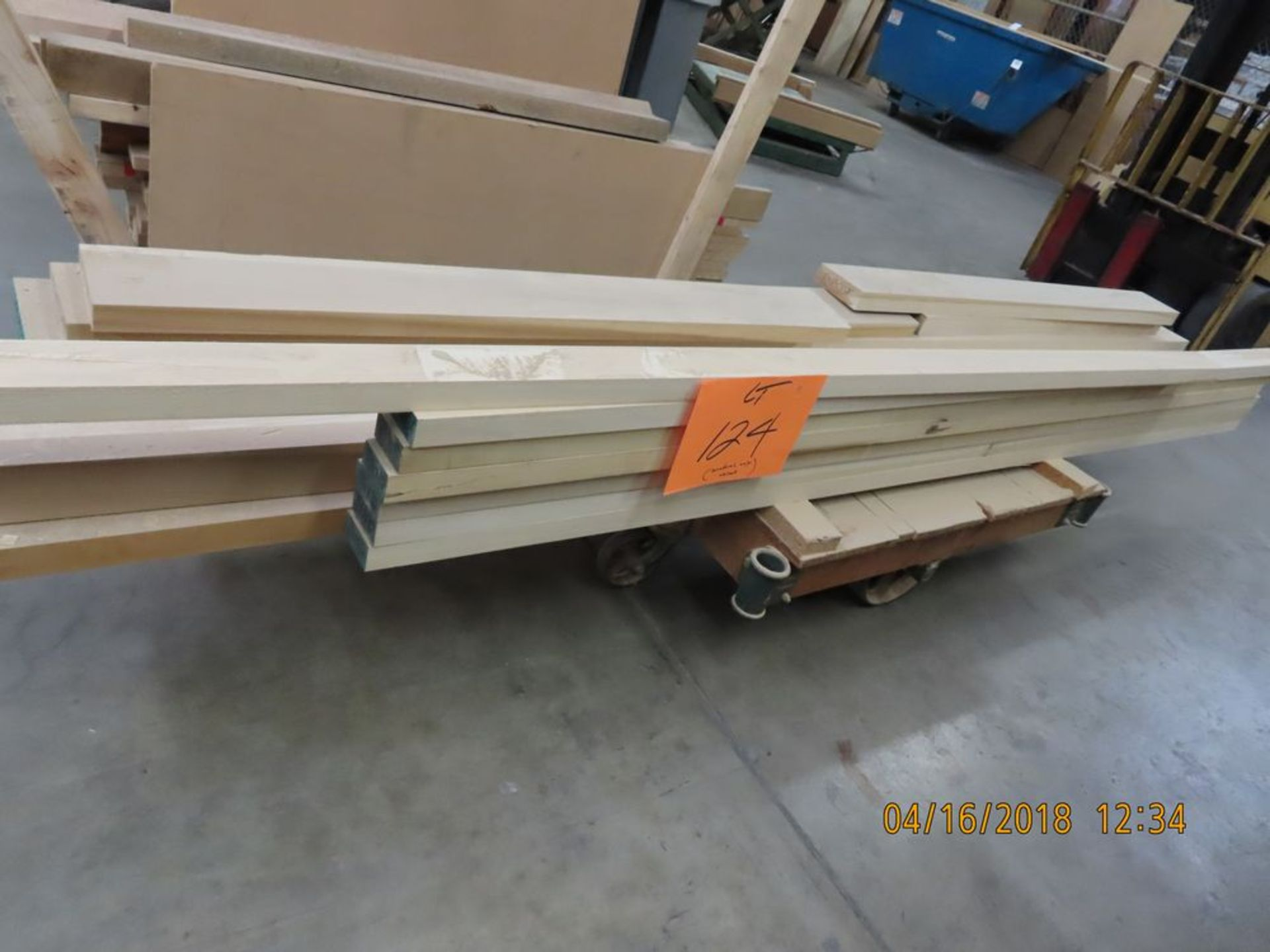 (Lot) Lumber on Cart. Approx. 3 1/2'' x 121''L & Other Sizes (No Cart)