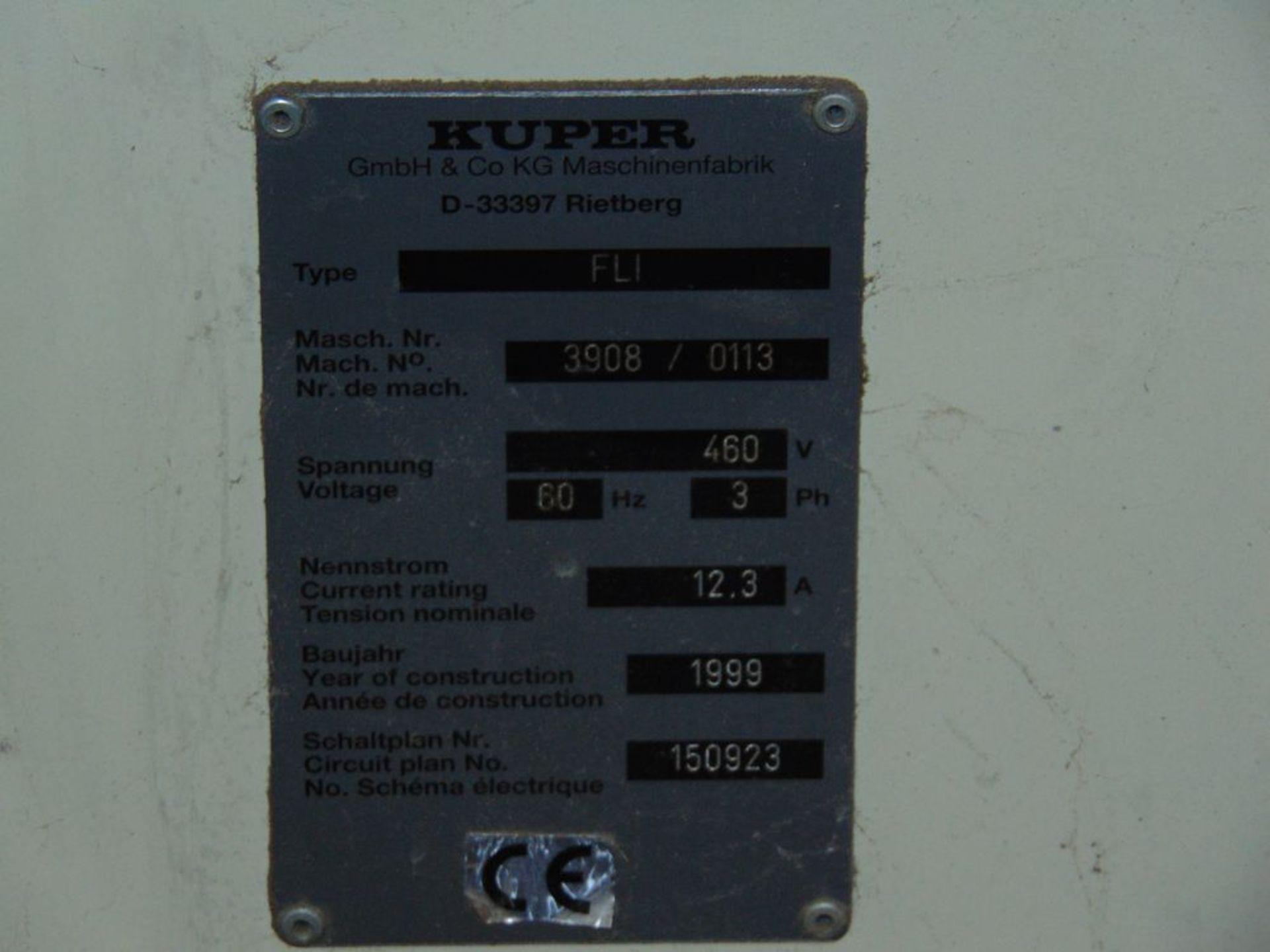 (1999) Kuper Type FCI Mach. No. 3908/0113 Veneer Splicing Machine w/ 54'' x 102''L Light Table; S/ - Image 7 of 7