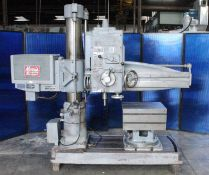 Morris Mor-Speed Radial Arm Drill 4' x 9''. LOADING FEE FOR THIS LOT: $350