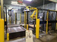 Fanuc Robot, mod. M-410iC315 w/ Pallet Stacker & Cousins mod. 3300A Pallet Wrapper & Safety Cage,