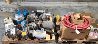 (Lot) Assorted pumps, motors, valves, on 2-pallets
