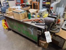 (Lot) Vise w/ Steel Welding Table, 36'' x 96'' x 30''T (No Contents)