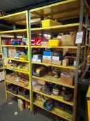 (Lot) Lg. Qty of Fittings, Clamps, Valves, Misc, Components w/ Racks