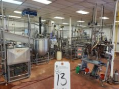 (Lot) (2011) Aseptic Filling Line w/ (2) 1,000 Gal. S.S. Mixing Tanks (No Jacket) w/ (2) Feed Tanks,