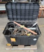 (Lot) Assorted Tools, Spreader Bars, Manual Wratchet Handles, Grounding Cables w/ Portable Tool