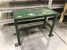"Green steel table 3'x18"""