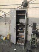 Cabinet with 2 door, misc chucks, tooling, grinding wheel