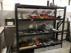 Shelf with scrap, tooling, bins, light