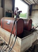 Lot of 2 diesel tanks 250 gallons, empty, with 1 FillRite, 115V 20 GPM, inculded concrete enclosures