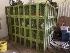 L-Shape green lockers, 26 individual