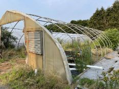 Greenhouse 27' wide 28 hoops, most are bent, disconnected at ground level, fan not included