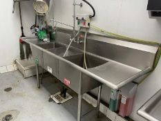 """Atlantic Culinary Equipment three compartment sink with dual side drainboard sprayer 90""""L M:"""