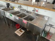 """Krowne 3 bay back bar sink, dual side drain board, 60"""" long, M: 18-53C"""