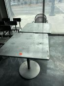 Lot of 2 metal tables with 2 metal chairs