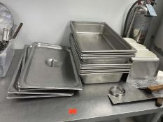 Lot of 11 hotel pans with 5 covers