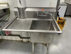 """Single deep well sink with left side drain board with cut out for pipe 39"""" long"""