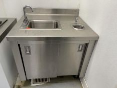 """Stainless Steel counter with sink & scoop well 36""""L x 31""""D"""