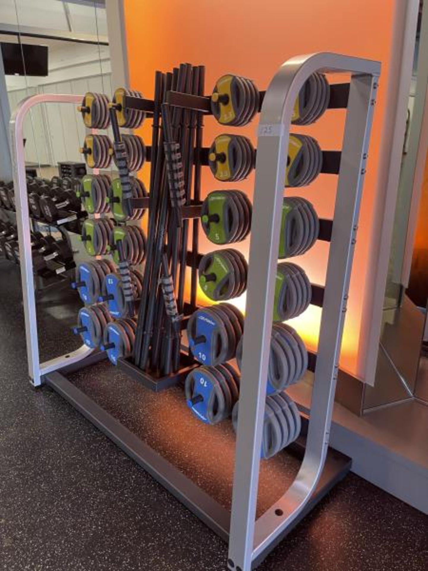 Life Fitness Studio Barbell Pack Urethane 2.5#, 5#, 10#, 13 Bars, Rack Model GBB - Image 2 of 9