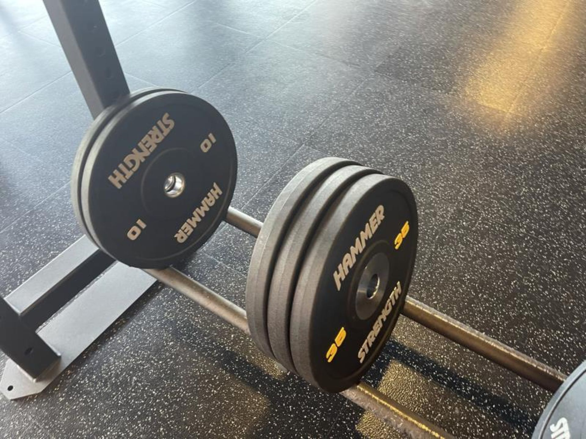 Hammer Strength Multi Station Cage with Hammer Strength Weighted Plates, 4 Bars - Image 9 of 11