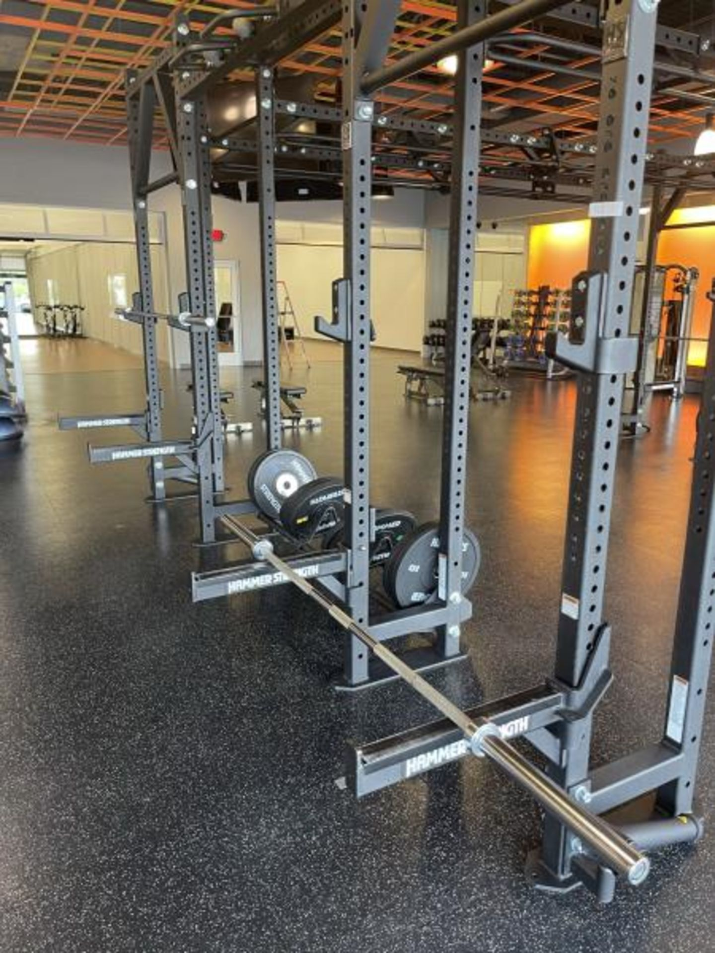 Hammer Strength Multi Station Cage with Hammer Strength Weighted Plates, 4 Bars - Image 2 of 11