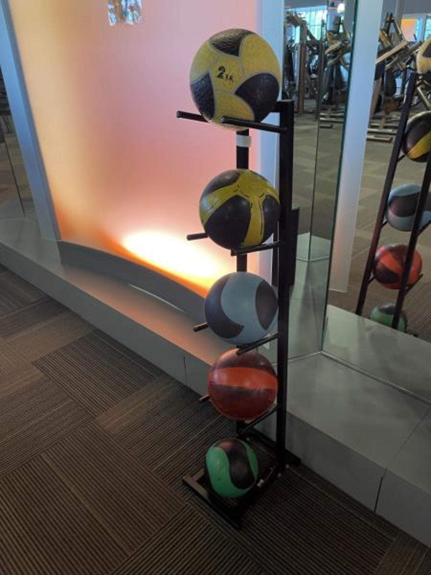 Medicine Training Balls with 5 Tier Metal Rack - Image 2 of 2